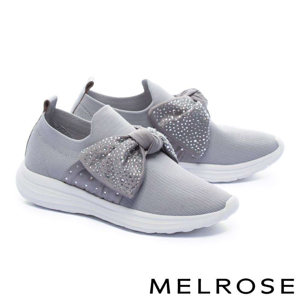 休閒鞋 MELROSE 時尚晶鑽蝴蝶結造型飛織厚底休閒鞋-灰