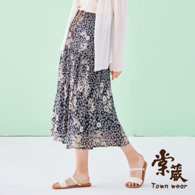 【TOWNWEAR棠葳】滿版花卉綁帶雪紡長裙
