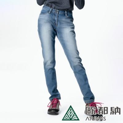 【ATUNAS歐都納】女款微刷毛保暖牛仔風格休閒長褲A-PA1328W藍/大尺碼
