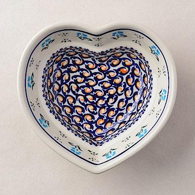 【波蘭陶 Zaklady】波蘭陶 青藍小花系列 愛心造型烤盤 波蘭手工製