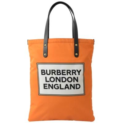 BURBERRY 貼布風logo直式購物包(橘)