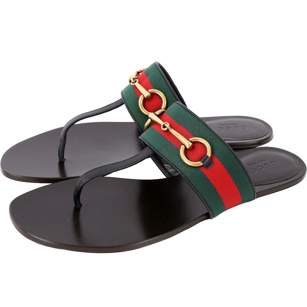 GUCCI Horsebit 經典馬銜織帶拼接夾腳鞋(黑色)