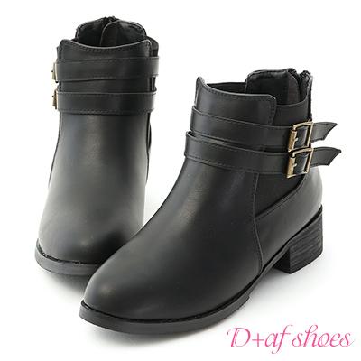 D+AF 完美作風.側鬆緊雙釦切爾西短靴*黑