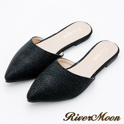 River&Moon大尺碼-優雅名媛氣質亮粉尖頭穆勒鞋-黑