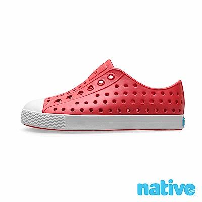native 大童鞋 JEFFERSON 小奶油頭鞋-火炬紅x貝殼白