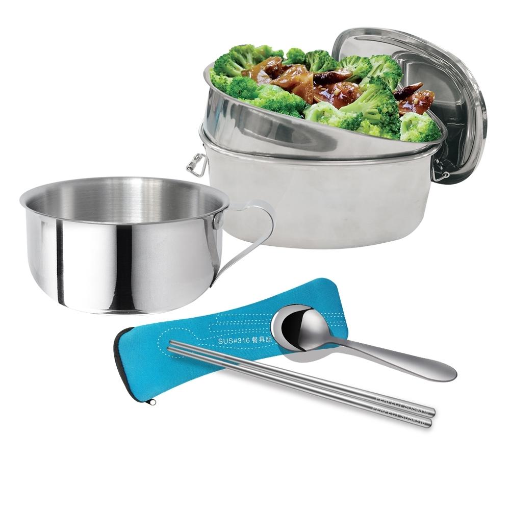 PERFECT 理想 極緻316方形雙層便當盒16cm(高)+學生湯碗10cm+隨身餐具組