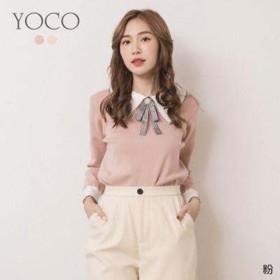 東京著衣-YOCO 浪漫貴氣撞色胸針可拆針織上衣(共二色)