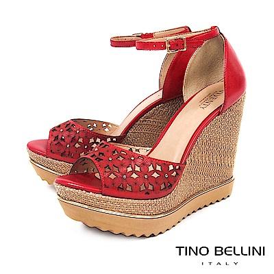 Tino Bellini 巴西進口細緻雷射雕花楔型魚口涼鞋 _ 紅