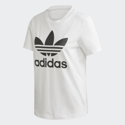 adidas 短袖上衣 運動 休閒 健身 訓練 女款 白 FM3306 Trefoil Tee