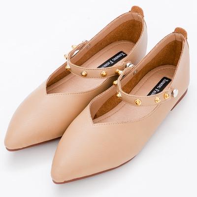 River&Moon中大尺碼-可二穿鉚釘超纖Q軟橡膠平底尖頭鞋-棕