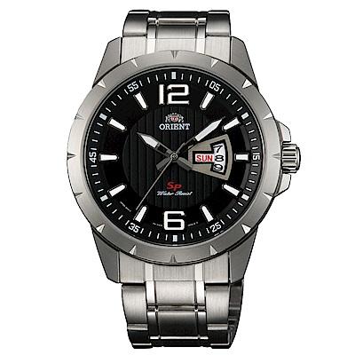 ORIENT東方錶 簡練強悍運動石英腕錶鋼帶(FUG1X004B9)-黑x43mm