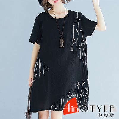 圓領不規則條紋寬鬆棉麻洋裝 (黑色)-4inSTYLE形設計