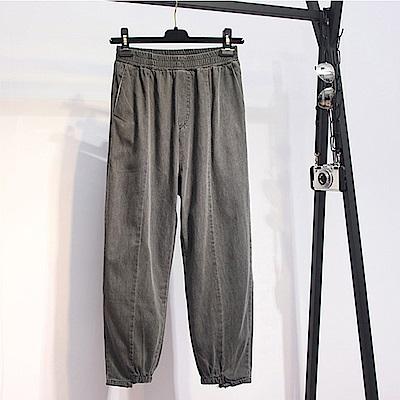 中大尺碼素色鬆緊腰圍下擺縮口水洗車線牛仔褲