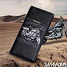 SAMMONS 真皮壓印摩托車對折長夾 率性黑