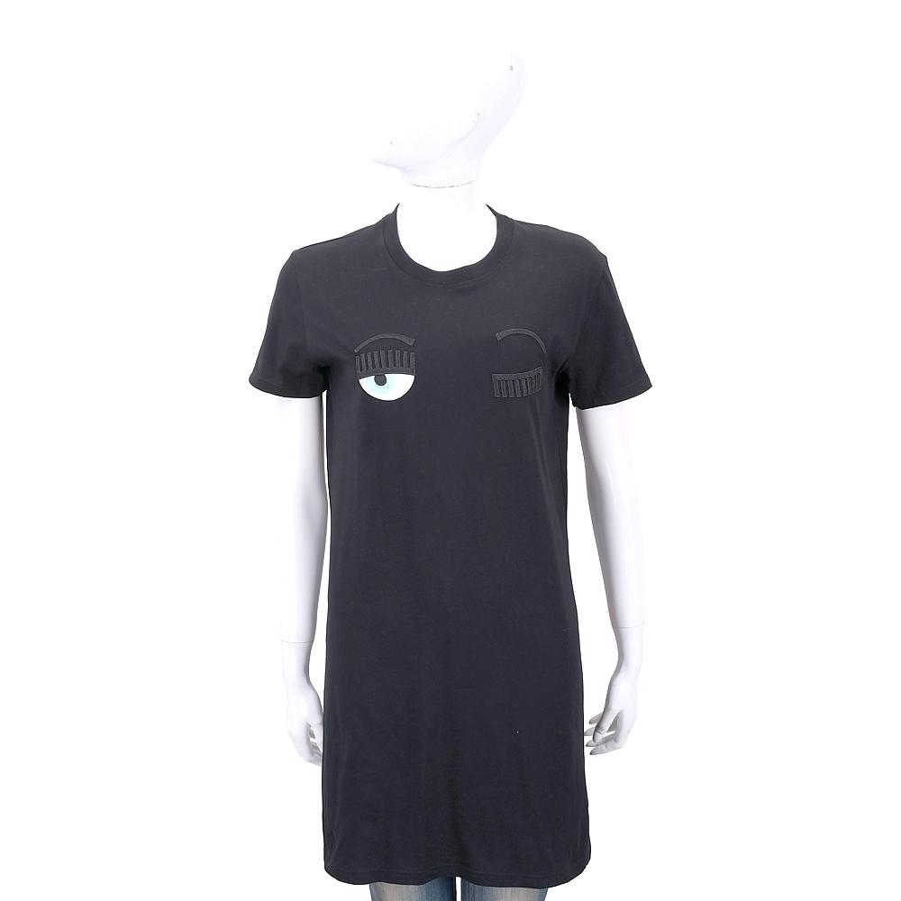 Chiara Ferragni Flirting 刺繡眨眼黑色長版T恤/連身裙