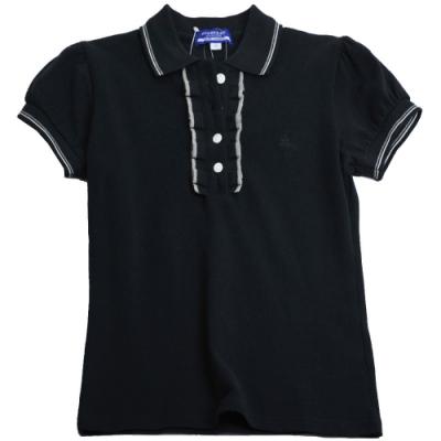BURBERRY 藍標戰馬刺繡LOGO荷葉領短袖女POLO衫(黑/36號)