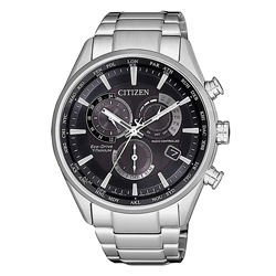 CITIZEN 光動能時尚鈦金屬三眼腕錶-銀X黑(CB5020-87E)/42mm