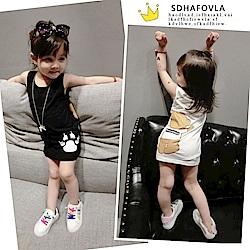 小衣衫童裝    可愛卡通熊掌印花無袖背心裙1070317