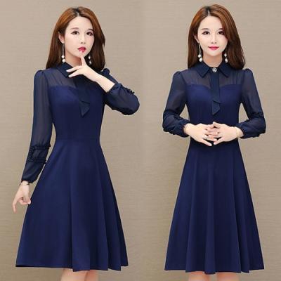 【韓國K.W.】(預購)韓時尚OL素色雪紡洋裝-1色