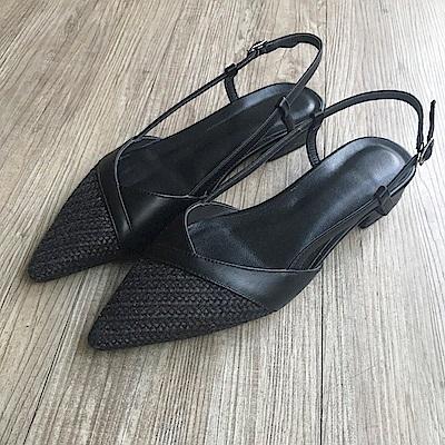 TMH- 手工真皮編織低跟鞋