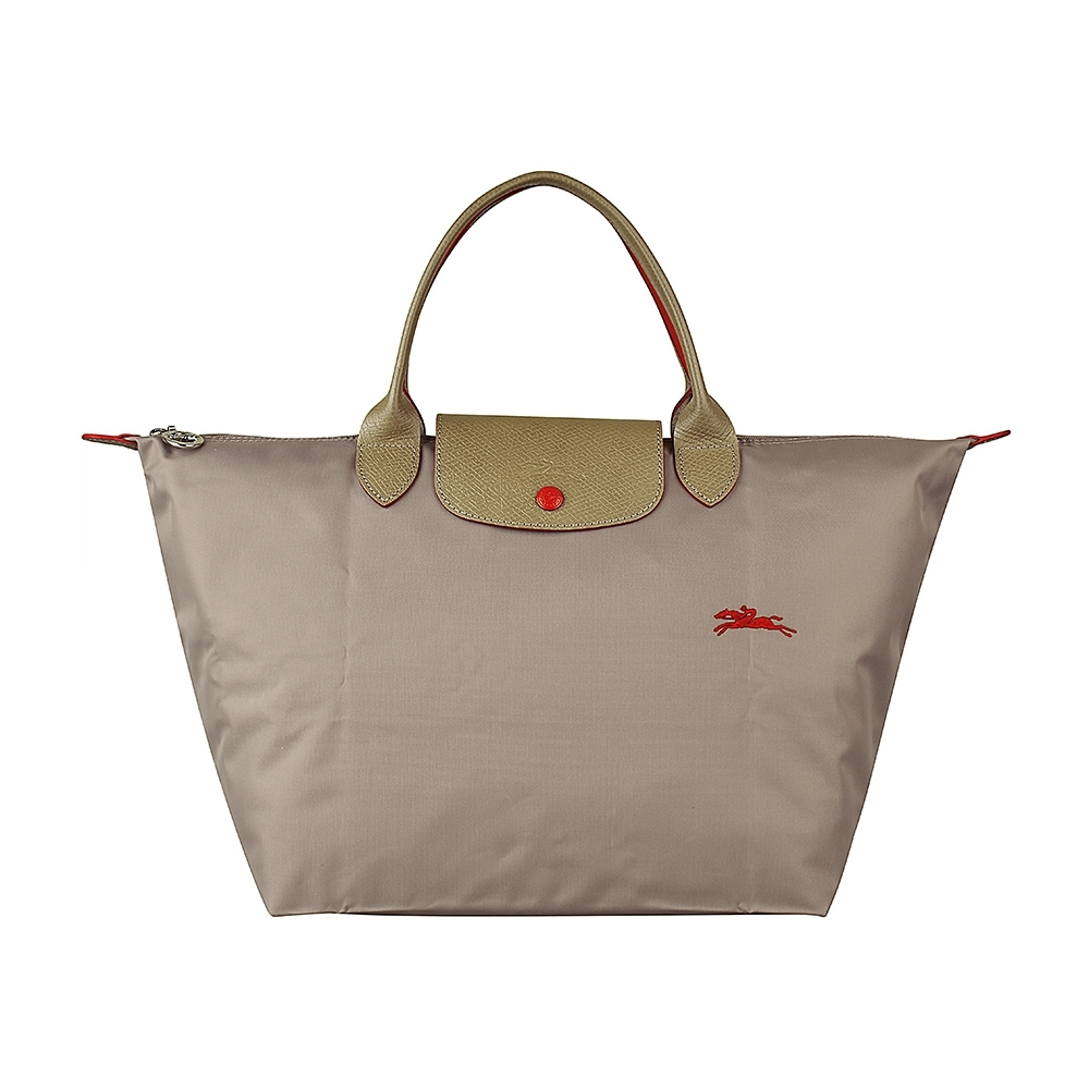 LONGCHAMP COLLECTION刺繡LOGO尼龍摺疊短把拉鍊手提包(中/棕x紅)