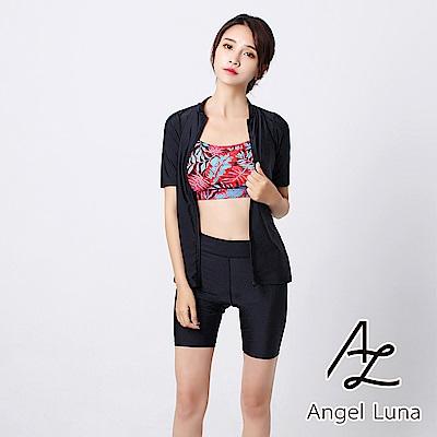 【AngelLuna日本泳裝】黑色印花水母衣外套四件式比基尼泳衣(附泳帽)