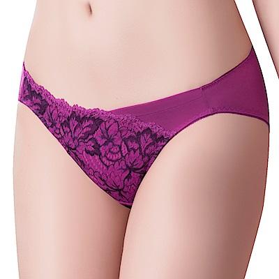 思薇爾 撩波葉之舞系列M-XXL蕾絲低腰三角內褲(緋紫色)
