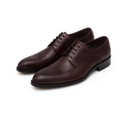 ALLEGREZZA-真皮男鞋-復古品味-藝紋雕花牛津鞋  咖啡紅色