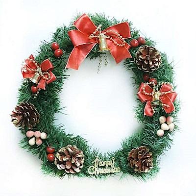 摩達客 11吋可愛蝴蝶結聖誕花圈(紅金色系)(台灣手工組裝出貨)