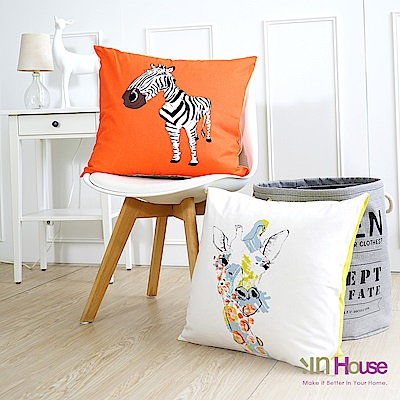 IN-HOUSE  繽紛系列抱枕-斑馬與長頸鹿(橘-50x50cm)