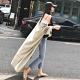 La Belleza素色長版彈性棉質寬袖開衫超長版罩衫