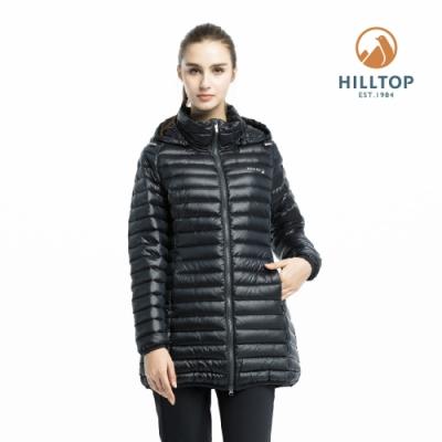 【hilltop山頂鳥】女款輕量超潑水保暖蓄熱羽絨短大衣F22F03黑美人