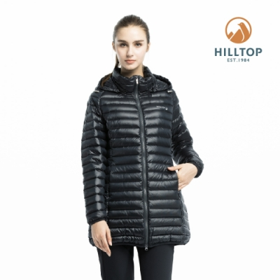【hilltop山頂鳥】女款輕量超潑水保暖蓄熱羽絨短大衣PF22XF03ECA0黑美人