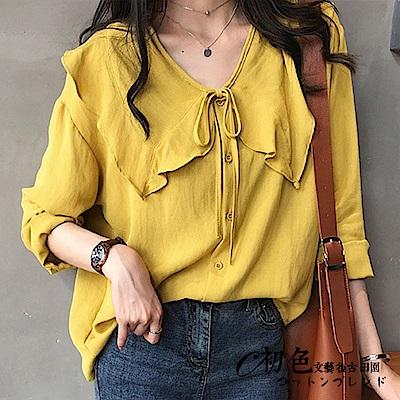 純色氣質娃娃領襯衫-共3色(M-2XL可選)    初色