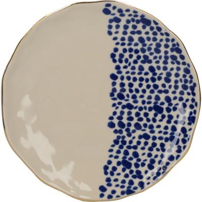 《CreativeTops》金邊靛藍餐盤(波點19cm)
