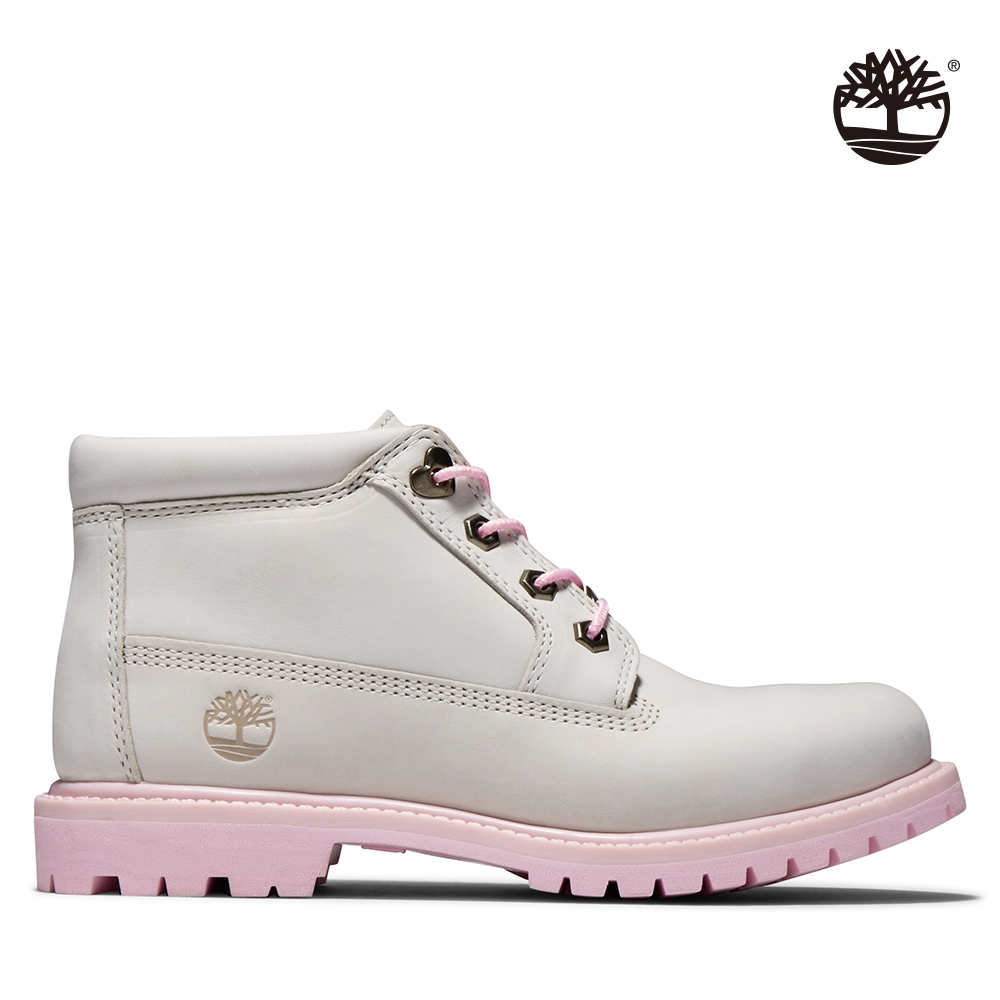 Timberland 女款白色磨砂革愛心短靴|A28H7
