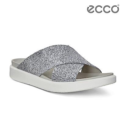 ECCO FLOWT LX W 輕柔交叉寬帶涼拖鞋 骨瓷皮革 女-灰