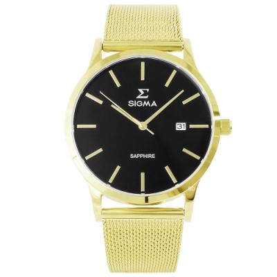SIGMA 簡約藍寶石時尚米蘭帶手錶-黑X金-41mm
