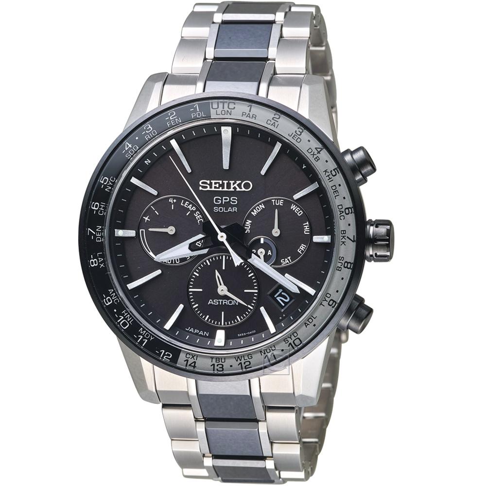SEIKO精工 ASTRON GPS 5X53雙時區鈦金屬腕錶(SSH011J1)-黑銀色 @ Y!購物