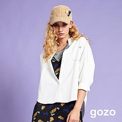 gozo 落肩金屬繡線假口袋襯衫(白色)