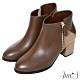 Ann'S丹麥時尚-幾何拼接絨布粗跟短靴-咖 product thumbnail 1