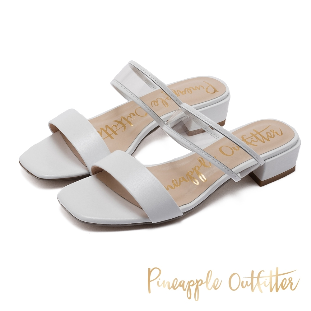 Pineapple Outfitter 真羊皮拚接透明低粗跟涼拖鞋-白色