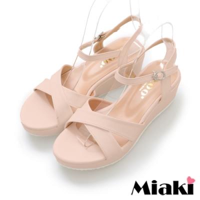 Miaki-涼鞋東大時尚厚底露趾涼拖-粉