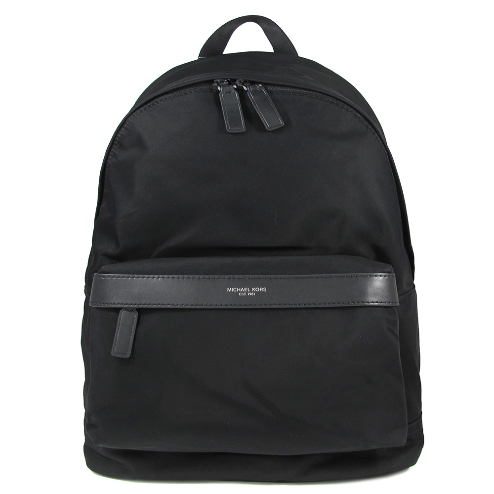 MICHAEL KORS Kent 燙銀Logo輕量尼龍素面雙肩後背包(黑色-大)