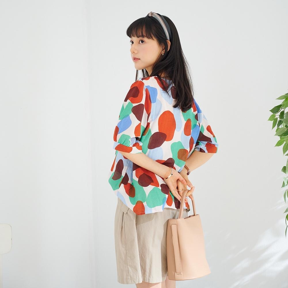 慢 生活 藝術疊圈色塊棉料寬版上衣- 黃/紅 product image 1