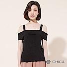 CHICA 復刻美學平口細帶露肩針織衫(3色)