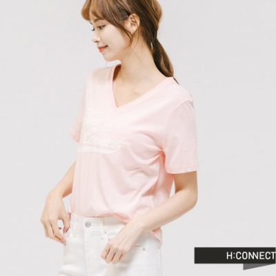 H:CONNECT 韓國品牌 女裝 -英文標語V領T-shirt - 粉
