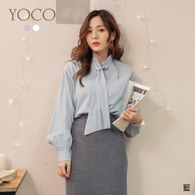 東京著衣-YOCO 推薦單品領結排釦長袖上衣
