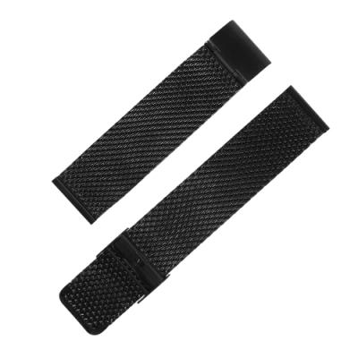 Watchband / DW代用 各品牌通用 透亮輕巧 米蘭編織不鏽鋼錶帶 黑色