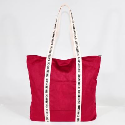 Miyo 學院風燈芯絨長方肩背包(莓果紅)